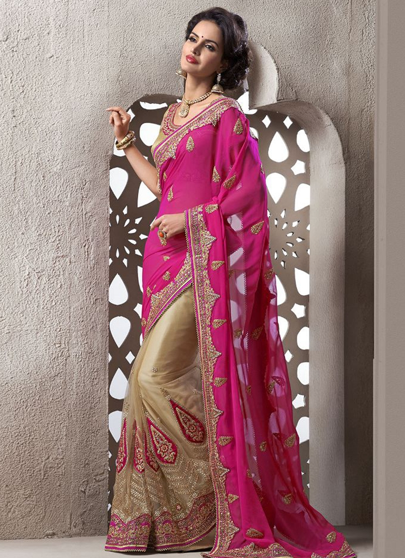 Prodigious Beads And Stone Work Half N Half Wedding Saree
