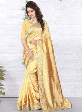 Prodigious Beige Color Lace Work Casual Saree