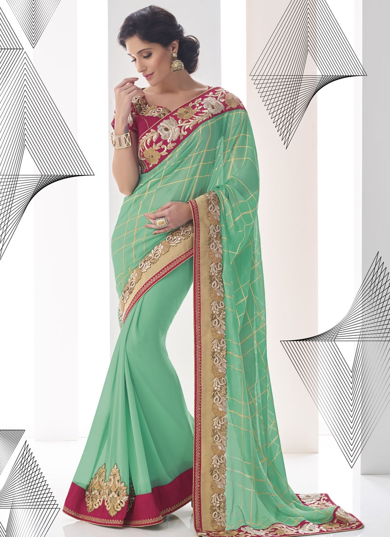 Prodigious Booti And Sequins Work Designer Saree