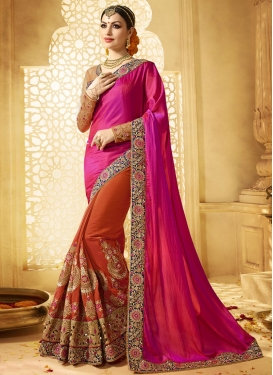 Prodigious Booti Work Half N Half Trendy Saree For Bridal