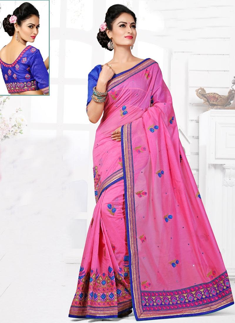 Prodigious Embroidery And Stone Work Wedding Saree