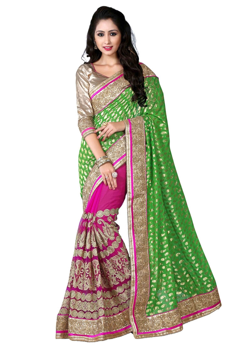 Prodigious Embroidery Work Net Half N Half Wedding Saree