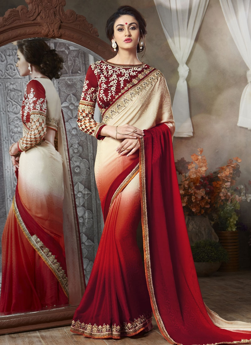 Prodigious Faux Georgette And Jacquard Party Wear Saree