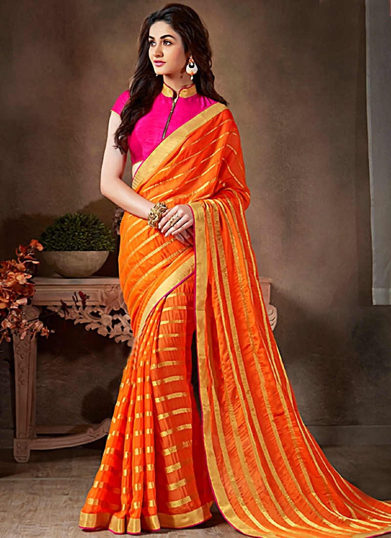 Prodigious Faux Georgette Lace Work Casual Saree