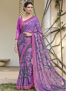 Prodigious Grey and Violet Lace Work Traditional Saree
