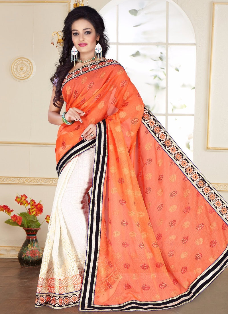 Prodigious Lace Work Off White Color Half N Half Party Wear Saree
