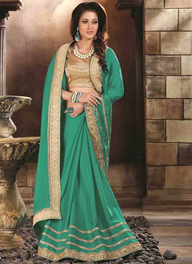 Prodigious Lace Work Sea Green Color Designer Saree