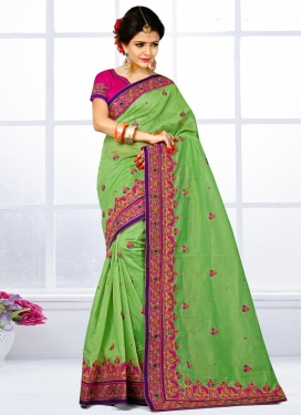 Prodigious Mint Green and Rose Pink Chanderi Silk Trendy Classic Saree