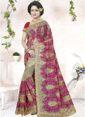 Prodigious Net Booti Work Contemporary Style Saree
