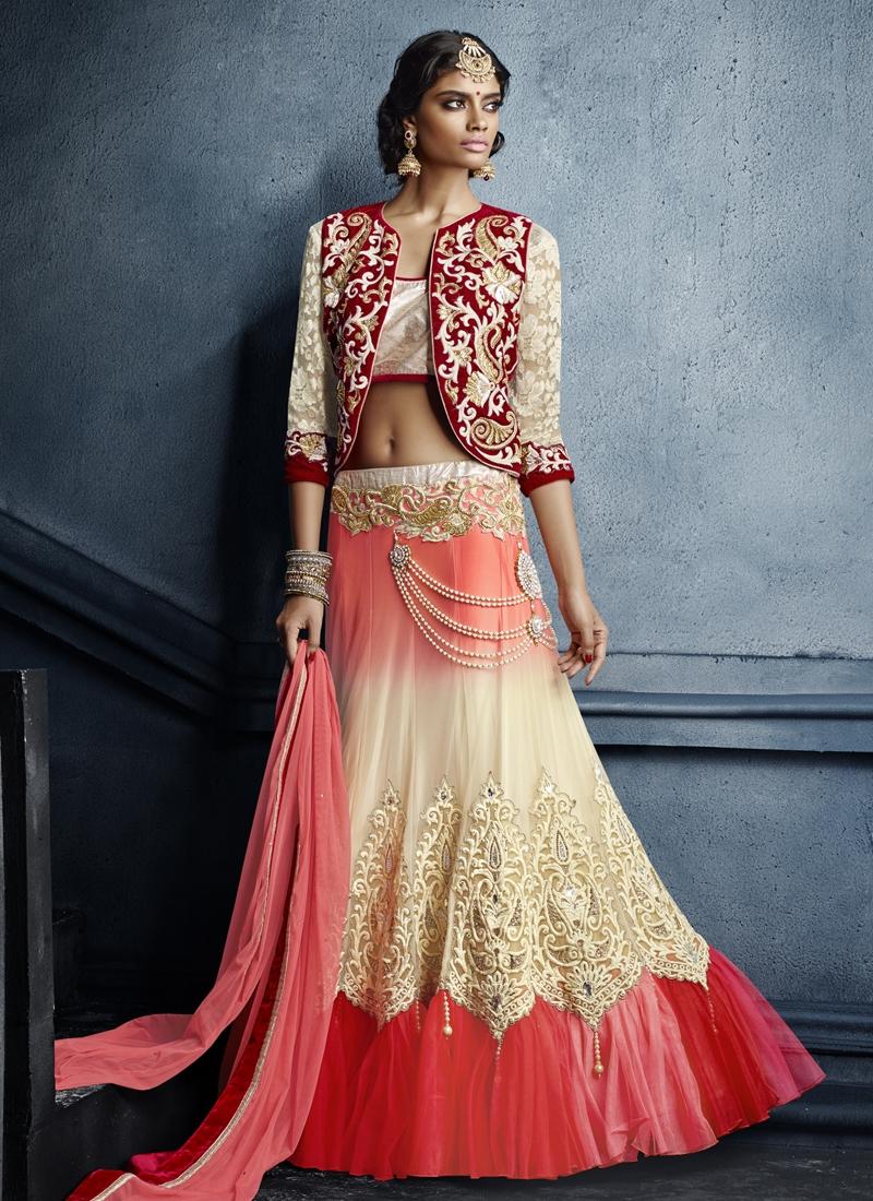 Prodigious Net Jacket Style Bridal Lehenga Choli