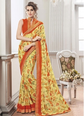 Prodigious Orange and Yellow  Contemporary Style Saree