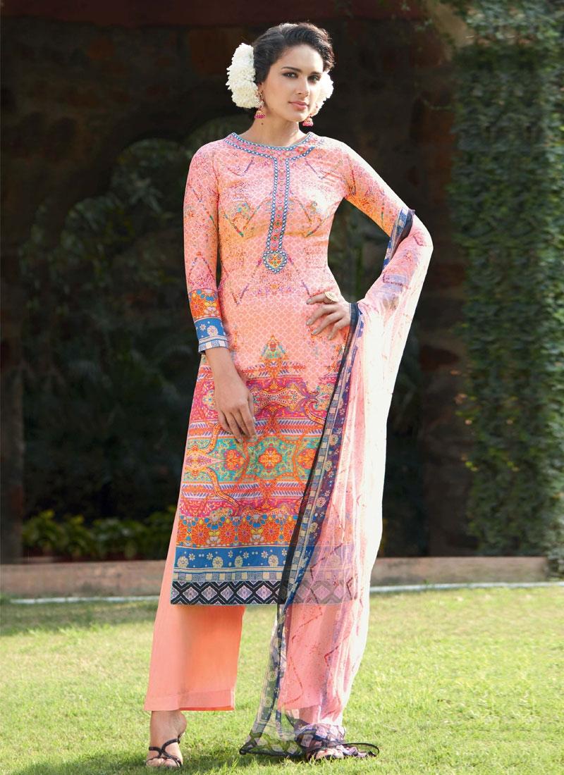Prodigious Print Work Palazzo Style Pakistani Suit
