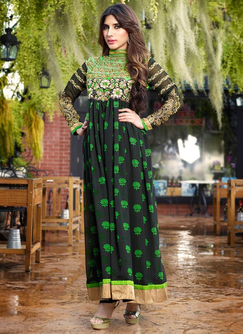 Prodigious Stone And Resham Work Long Length Designer Suit