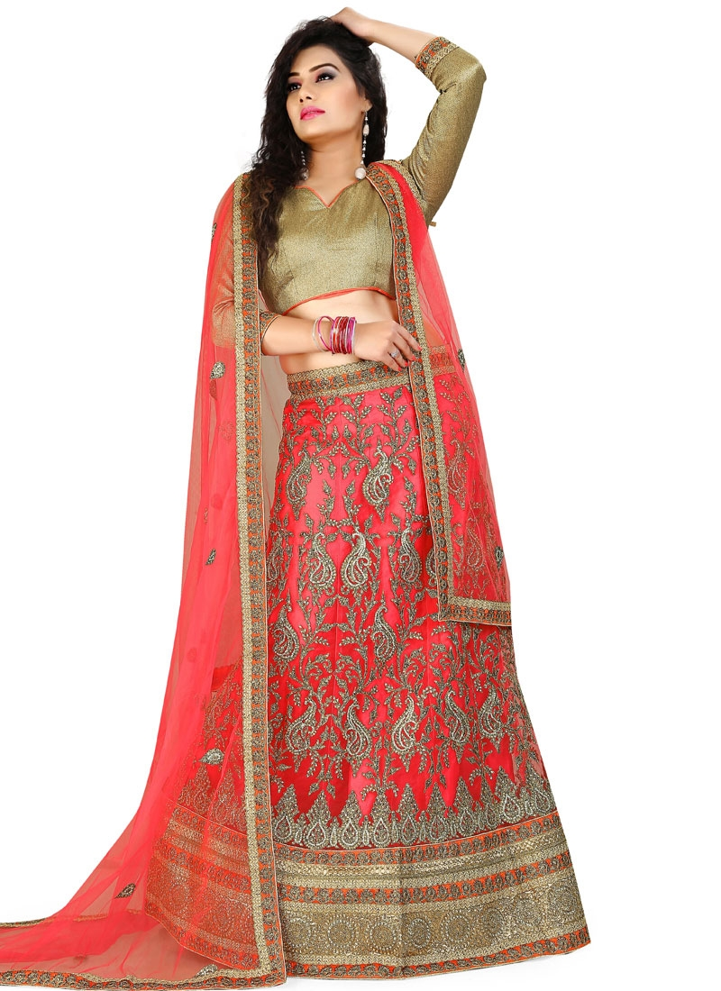 Prodigious Stone Work Red Color Wedding Lehenga Choli