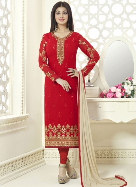Prominent Ayesha Takia Embroidered Work Straight Pakistani Salwar Kameez