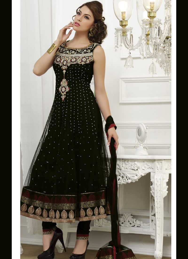 Prominent Black And Brown Net Salwar Kameez