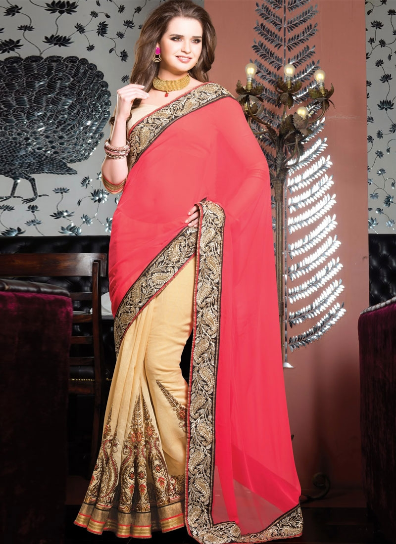 Prominent Booti And Lace Work Half N Half Wedding Saree