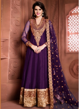 Prominent Booti Work Banglori Silk Purple Designer Floor Length Salwar Suit For Ceremonial