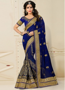 Prominent Booti Work Net Trendy Designer Saree For Reception