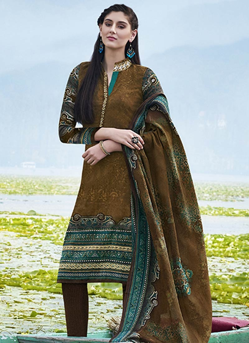 Prominent Brown Color Casual Salwar Suit