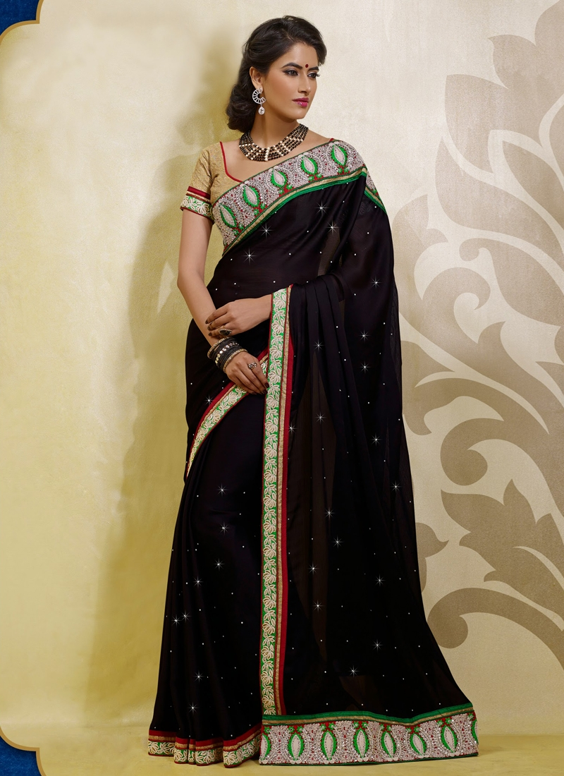 Prominent Chiffon And Satin Party Wear Saree