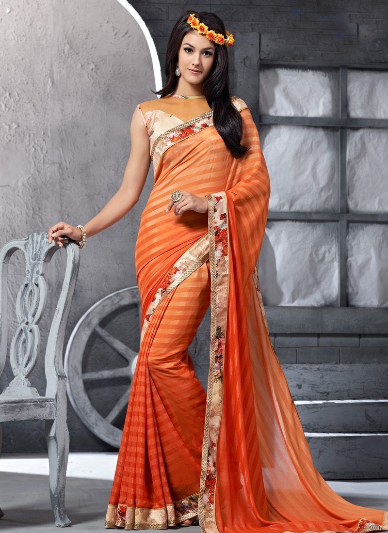 Prominent Coral Color Art Silk Party Wear Saree