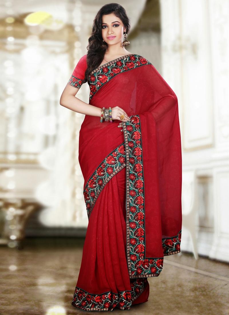Prominent Crimson Party Wear Saree