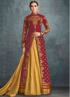 Prominent Embroidered Work Kameez Style Lehenga Choli