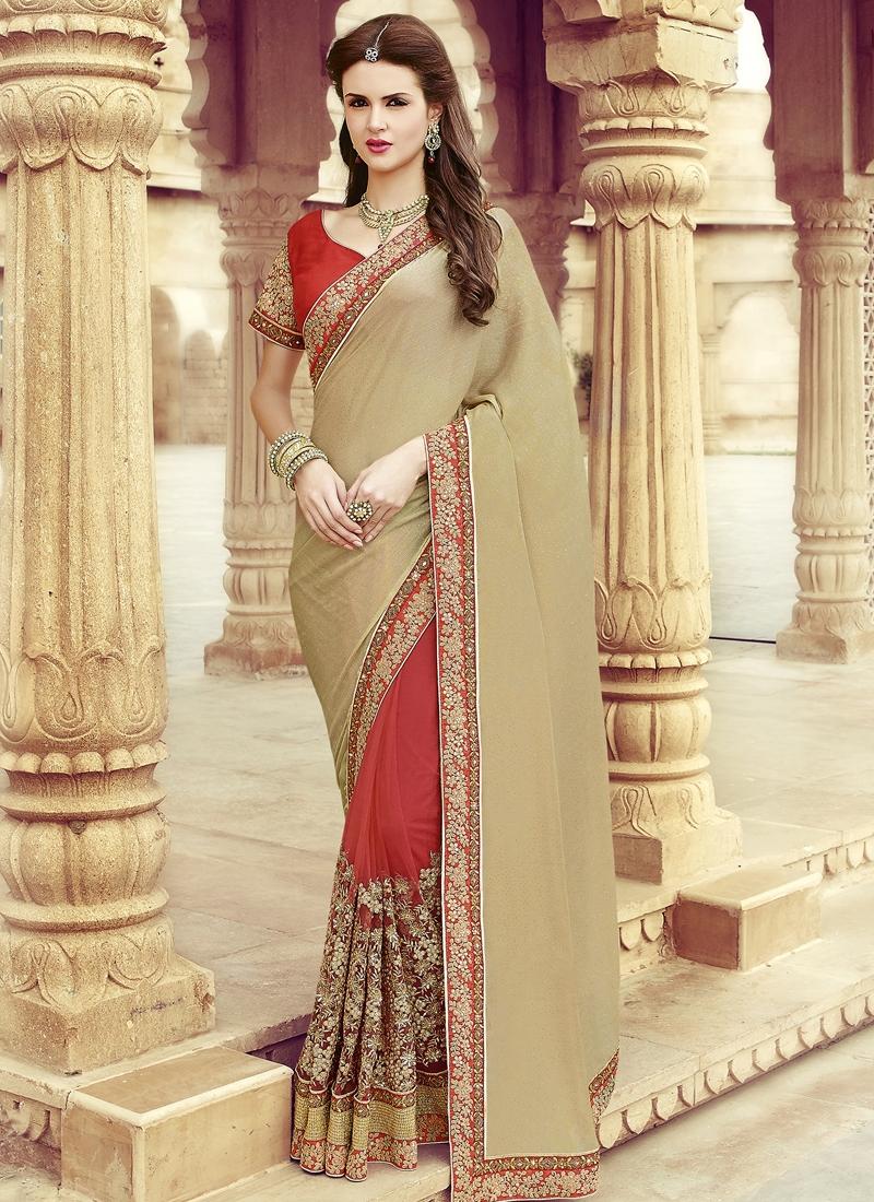 Prominent Embroidery Work Half N Half Wedding Saree