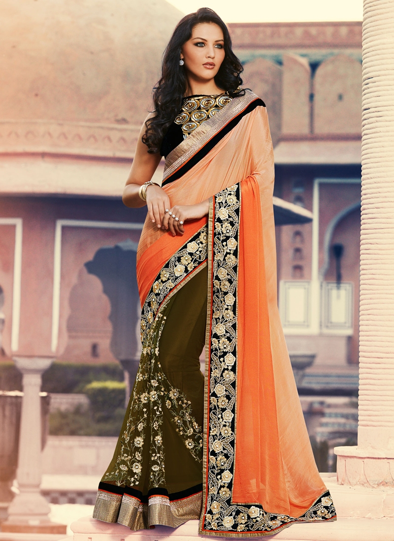 Prominent Floral Work Half N Half Designer Saree