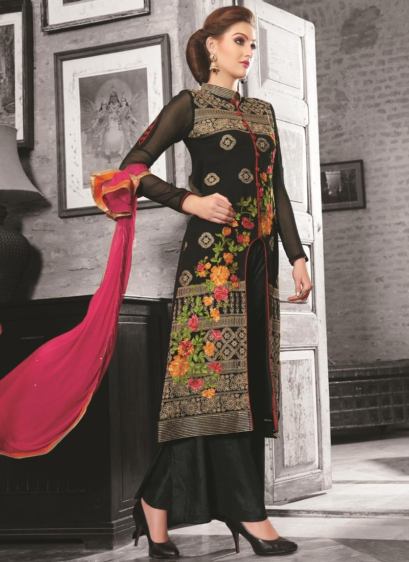 Prominent Floral Work Palazzo Style Designer Salwar Suit