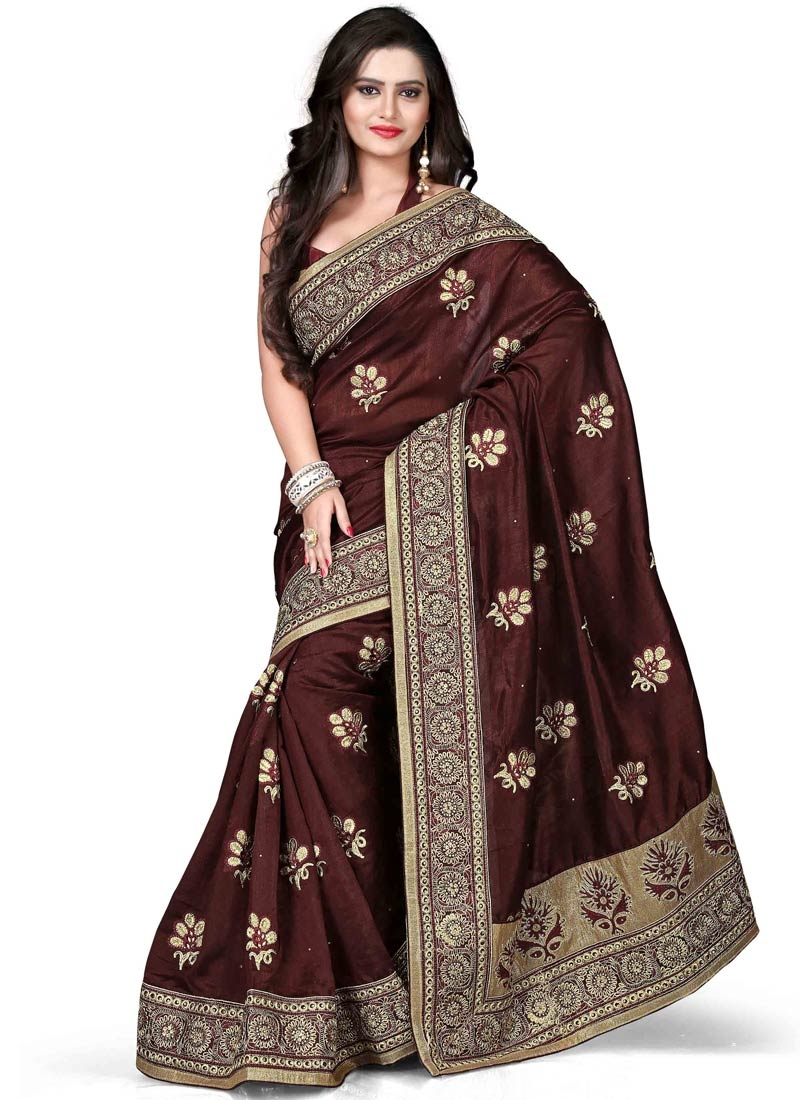 Prominent Patch Border And Stone Work Party Wear Saree