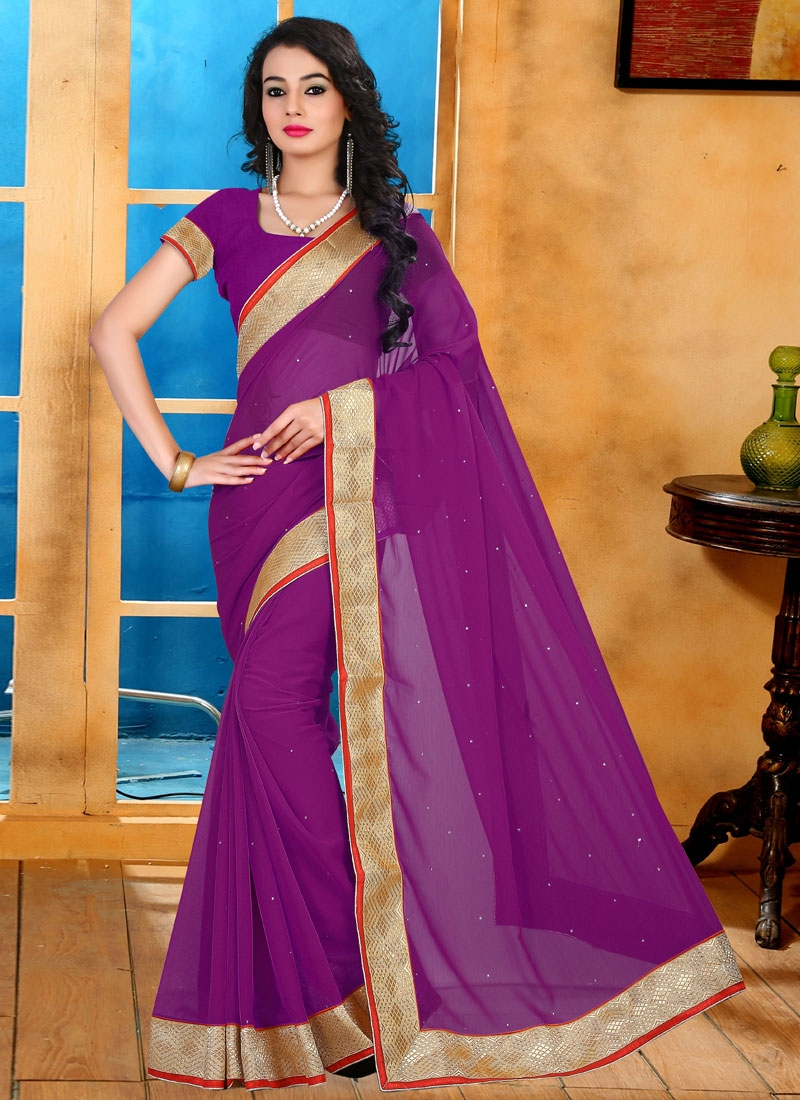 Prominent Purple Color Casual Saree