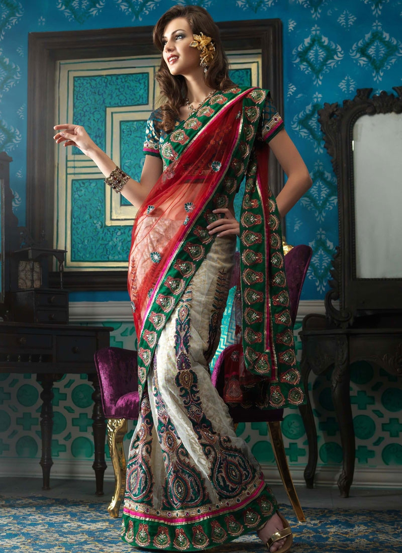 Prominent Red Green And Off White Net Lehenga Saree