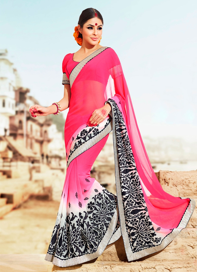 Prominent Rose Pink And Off White Party Wear Saree