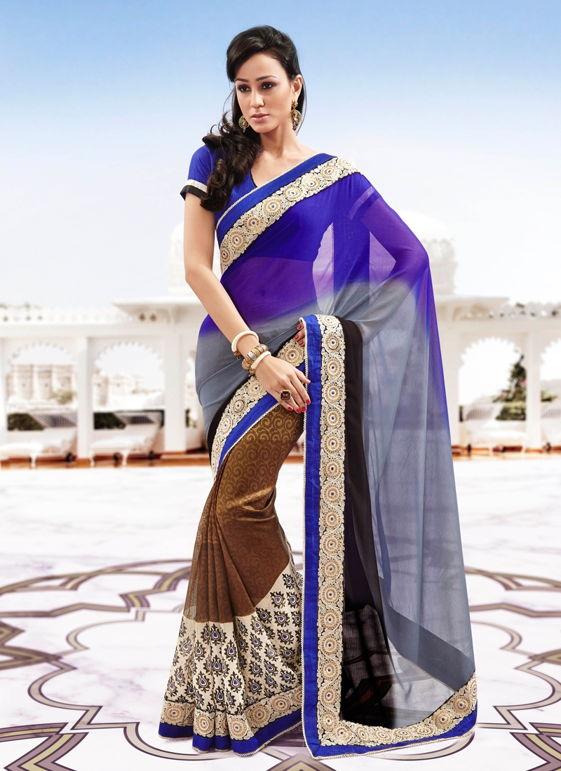 Prominent Sequins Enhanced Half N Half Saree