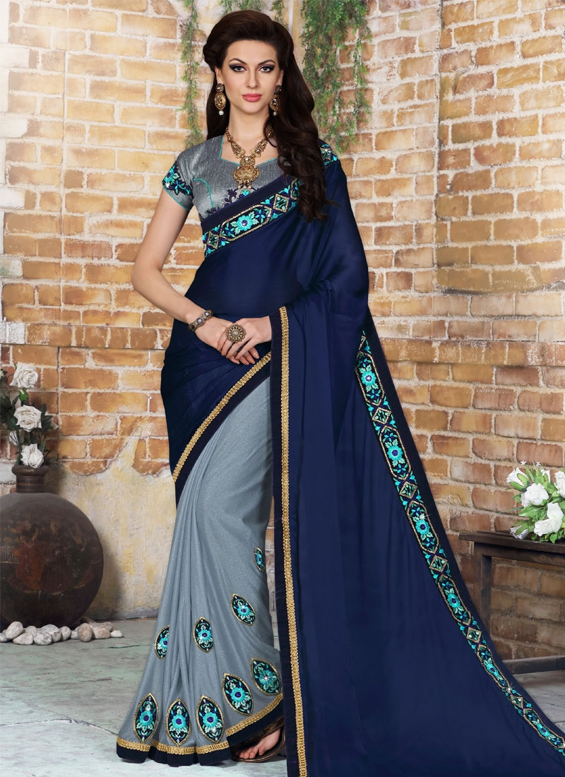 Prominent Stone And Booti Work Half N Half Designer Saree