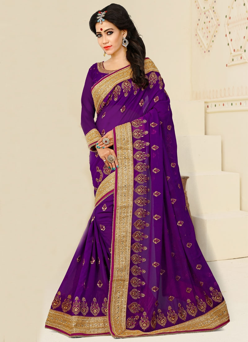 Buy Pure Georgette Beads Work Designer Traditional Saree Online