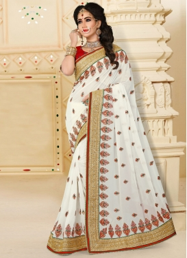 Pure Georgette Beads Work Off White Designer Traditional Saree