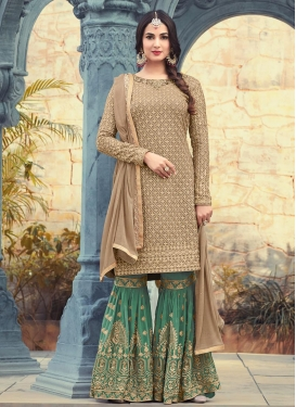 Pure Georgette Beige and Green Palazzo Designer Salwar Suit