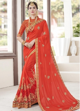 Pure Georgette Embroidered Work Traditional Saree