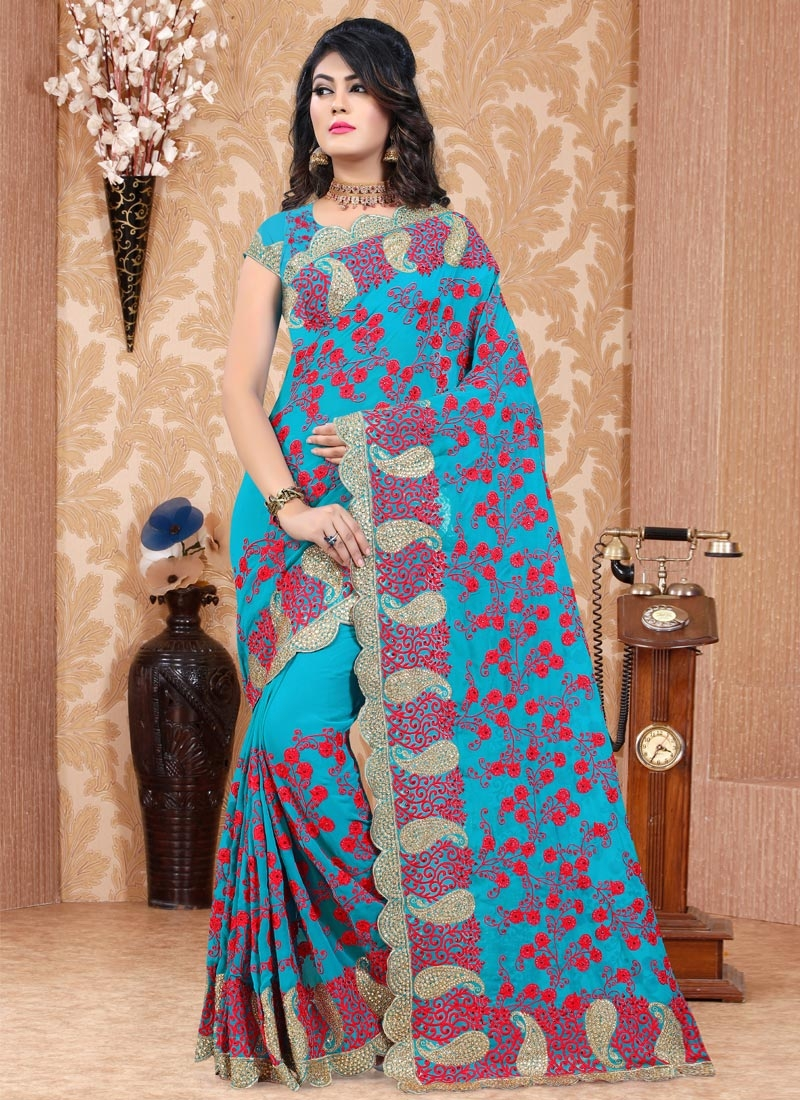 Pure Georgette Traditional Saree