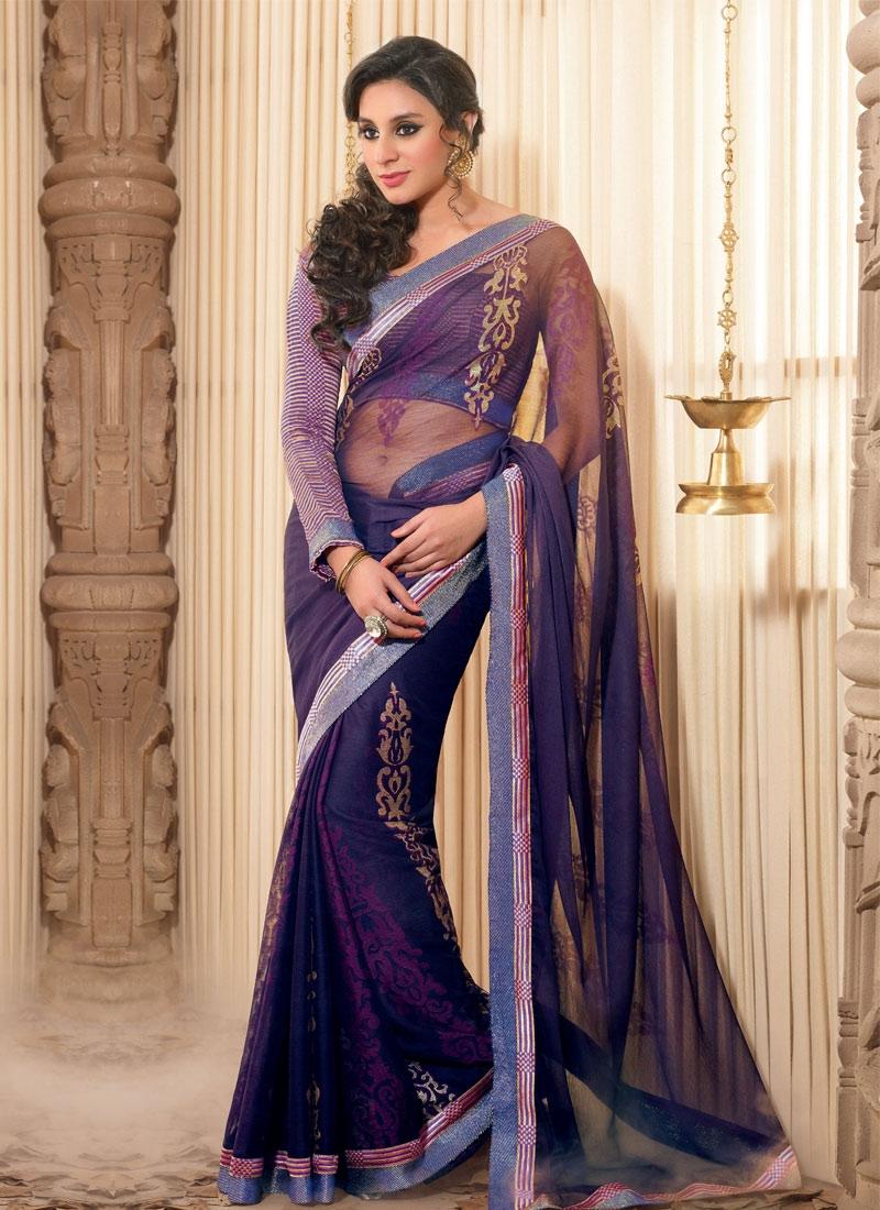 Purple And Navy Blue Half N Half Saree