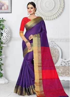 Purple and Red Contemporary Style Saree For Ceremonial