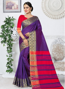 Purple and Red Kanjivaram Silk Traditional Saree