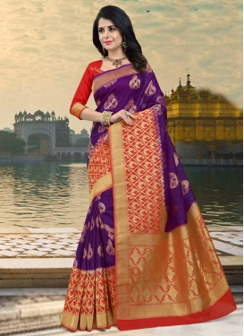 Purple and Red Traditional Saree For Festival