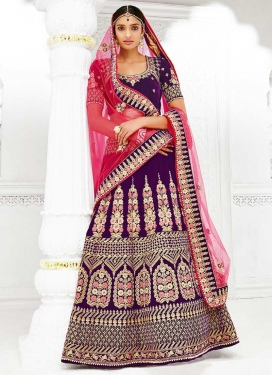 Purple and Rose Pink Booti Work Velvet A - Line Lehenga