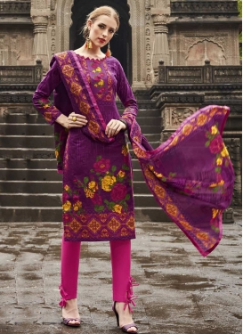 Purple and Rose Pink Cotton Pant Style Straight Suit