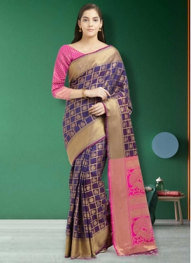 Purple and Rose Pink Thread Work Contemporary Style Saree