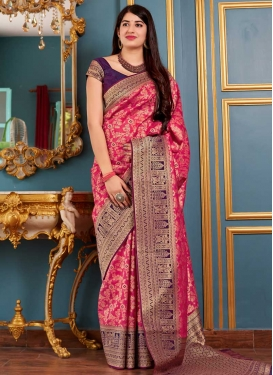 Purple and Rose Pink Thread Work Trendy Classic Saree